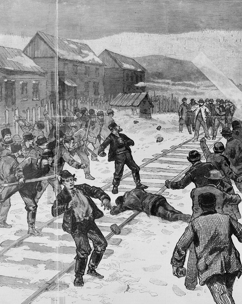 Cossacks attacking Polish strikers, Shenandoah, PA, 1888