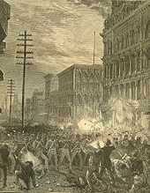 Maryland National Guard fighting its way west through downtown Baltimore during the Saint Louis Commune and the Great Upheaval