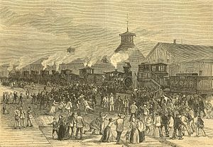 The Saint Louis Commune and the Great Upheaval began with the blockade of engines at Martinsburg, West Virginia