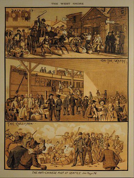 An artist's interpretation of the Seattle riot, West Shore Magazine, March 1886