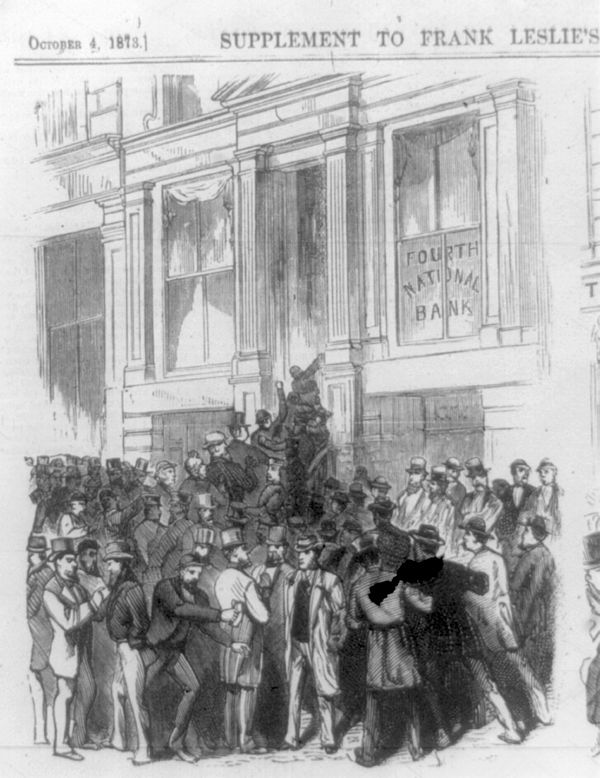 Run on the Fourth National Bank, New York City, 1873, during the Long Depression, the preceded the Saint Louis Commune and the Great Upheaval