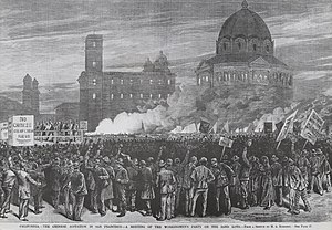 Anti-Asian Violence during San Francisco riot, 1877, meeting of the Workingmen's Party, outside San Francisco City Hall