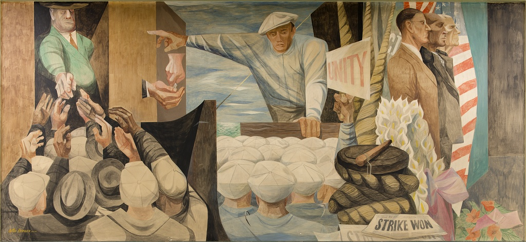 """Today in Labor History: March 30. """"The Waterfront"""" by Anton Refregier, depicting Harry Bridges, at Rincon Annex Post Office, near the Embarcadero at 101 Spear Street, San Francisco, California"""