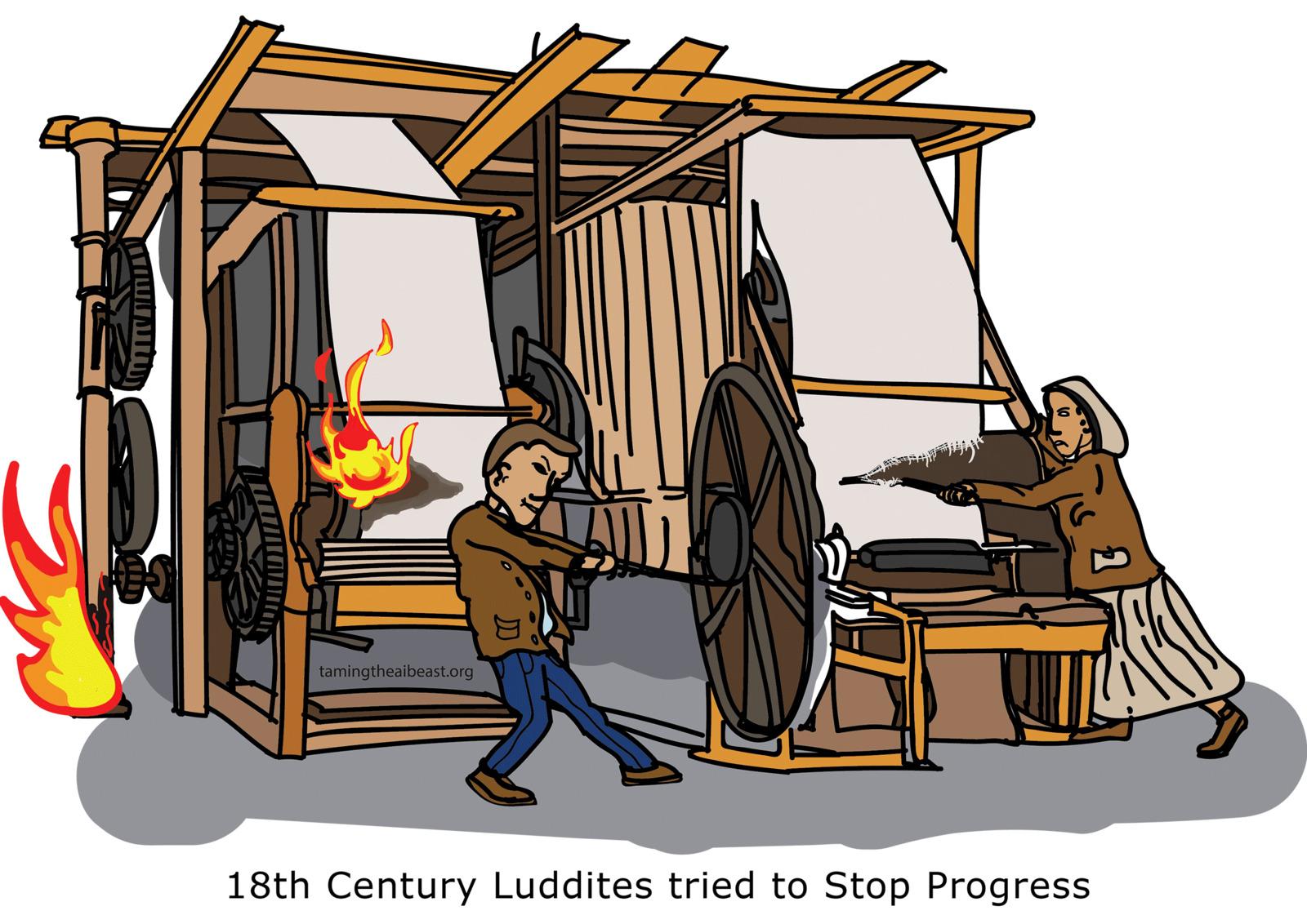 Luddites destroying a loom