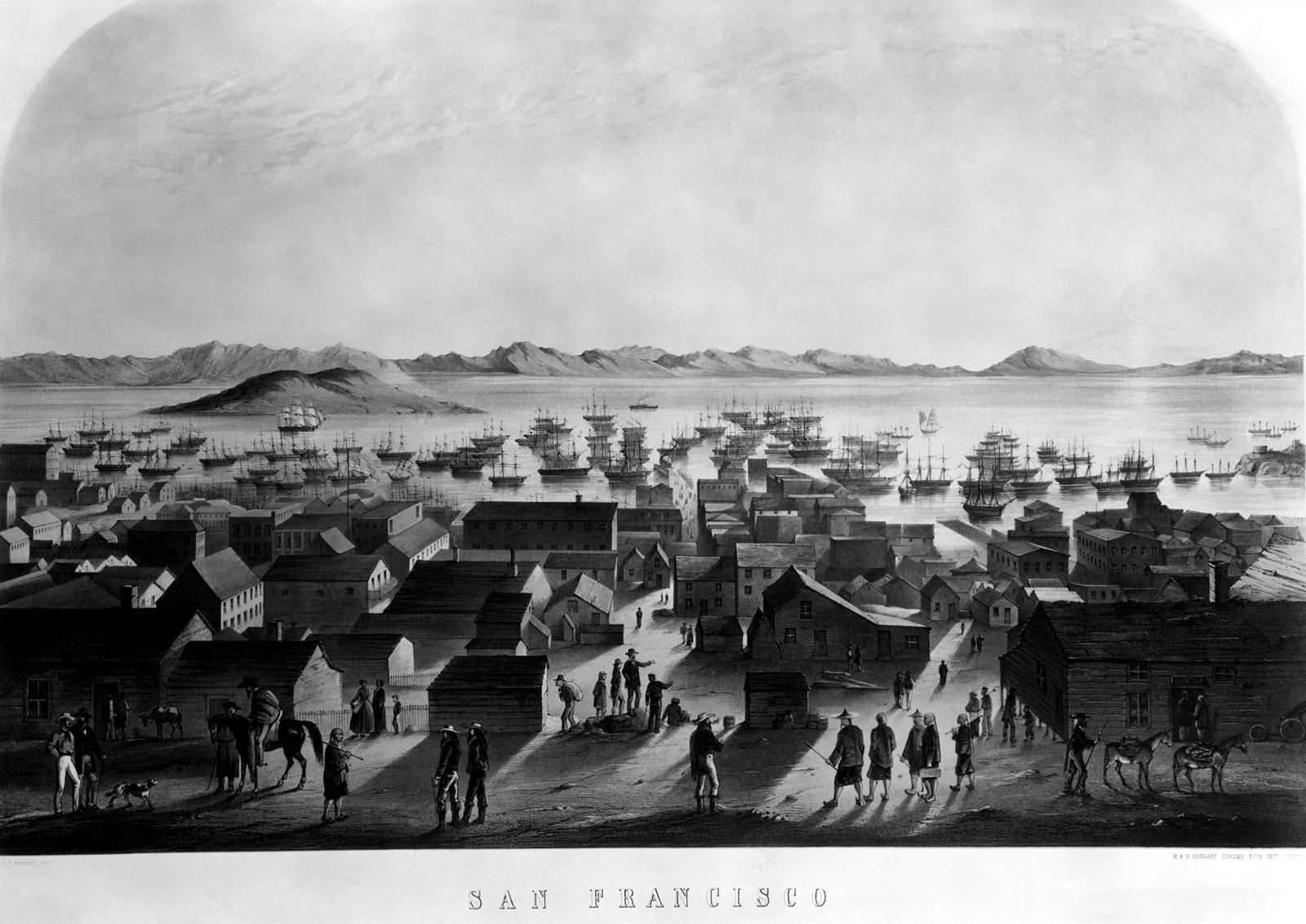 San Francisco waterfront during the Gold Rush. The first waterfront strike occurred on May 26, 1851.