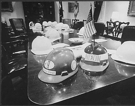 Hard harts on display in White House. Trophy's from Nixon's Hard Had Riot, when construction workers attacked Vietnam War protesters.