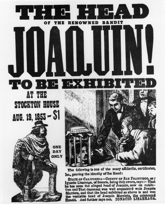 A poster advertising the display of the supposed head of Murrieta in Stockton, 1853